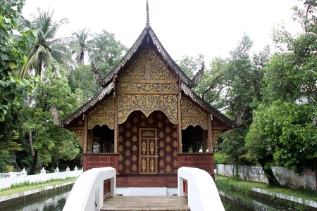 respectful: Small wooden temple in Wat Chiang Man, Chiang Mai, Thailand