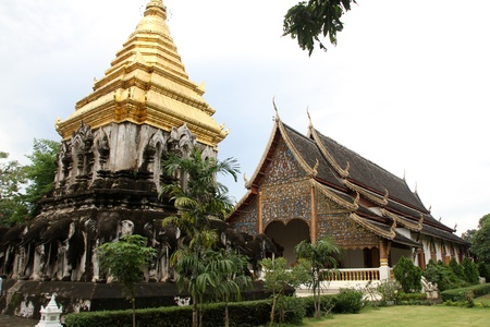 chiang mai: Golden stupa and temple in Wat Chiang Man, Chiang Mai, Thailand Stock Photo