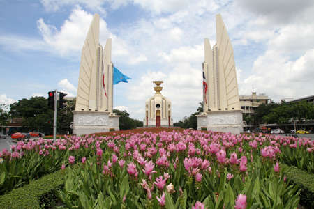 Flower garden near Democracy monument in Bangkok, Thailand