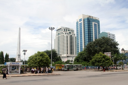 On the central square of Yangon, Myanmar