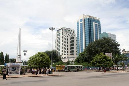 central square: Sulla piazza centrale di Yangon, Myanmar