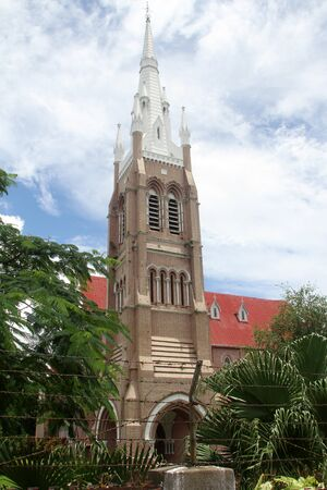 fense: Hight christian cathedral in Yangon, Myanmsr Stock Photo