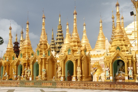 Golden stupas near Shwe Dagon pagoda, Yangon, Myanmar photo