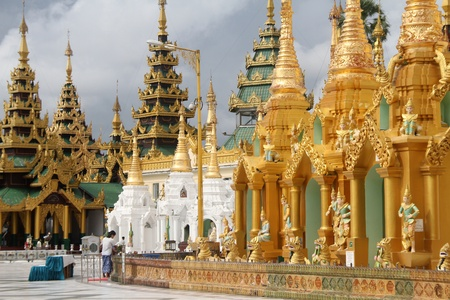 Near the base of Shwe Dagon pagoda in Yangon, Myanmar photo
