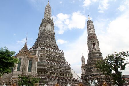 two prangs in wat Arun in Bangkok, Thailand Stock Photo - 11237359