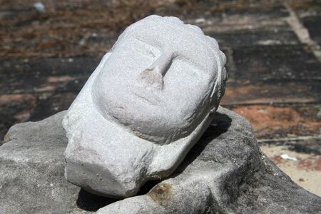 lop: Head of statue Buddha inb old temple, Lop Buri, Thailand