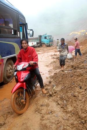 landslip: After big landslip on the road in mountain, wet season in Laos