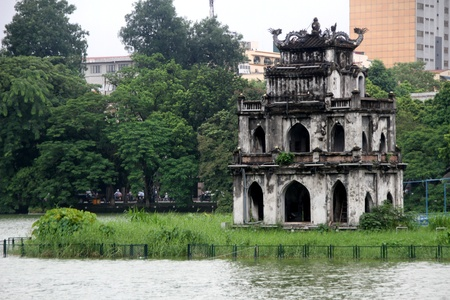 Famous pagoda on the Hoan Kiem lake in Hanoi, Vietnam Editorial
