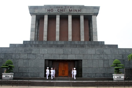 mausoleum: Slodiers in white uniform near Ho Chi Minh mausoleum in Hanoi, Vietnam