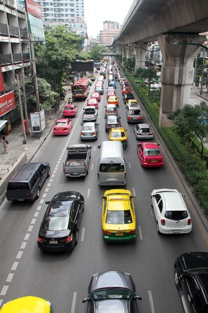Traffic on the crowded street in Bangkok, Thailand