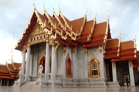respectful: Marble temple in wat Benchamobophit, Bangkok, Thailand