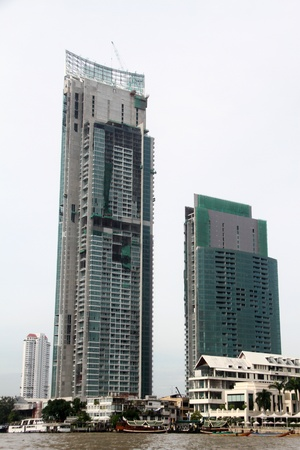 New skyscraper on the bank of Chao Phraya river in Bangkok, Thailand