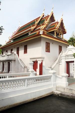 respectful: White stone temple in monastery wat Bowonniwet Stock Photo