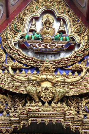 blissfull: Golfden Garuda on the wall of temple in wat Hualampong, Bangkok, Thailand