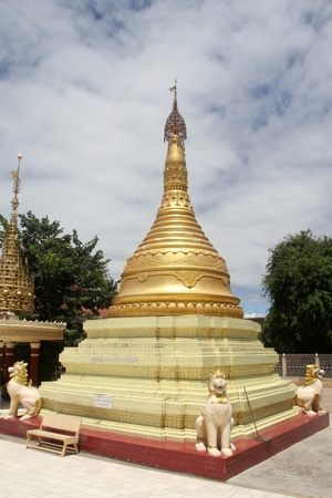 Golden stupa in main paya, Moniwa, Myanmar photo