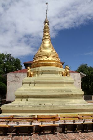Golden stupa with lions in paya, Moniwa, Myanmar photo