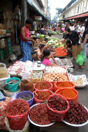 Farmers street vegetables market in Yangon, Myanmar