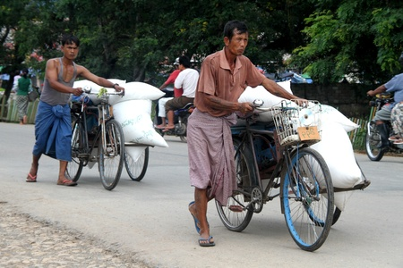trishaw: Two tricycles on the road near Inle lake, Myanmar