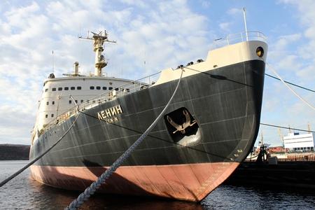 lenin: Ice-breaker Lenin near pier in port Murmansk, Russia