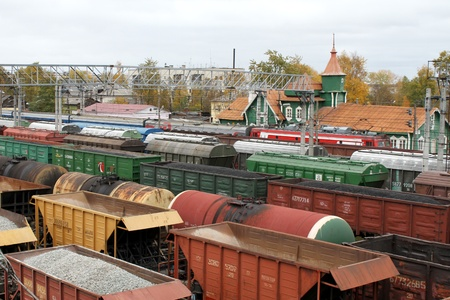 old container: Railway station and trains in Medvezshegors, Karelia, Russia Editorial