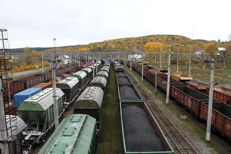 Railway station and trains in Medvezshegors, Karelia, Russia