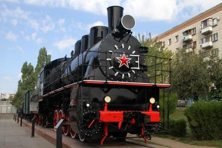 volgograd: Russian old black locomotive in Volgograd, Russia