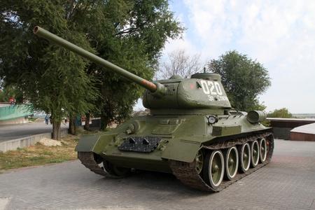 volgograd: Russian green tank on the street in Volgograd, Russia Editorial