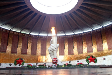 volgograd: Eternal flame and monument on the Mamaev kurgan in Volgograd, Russia