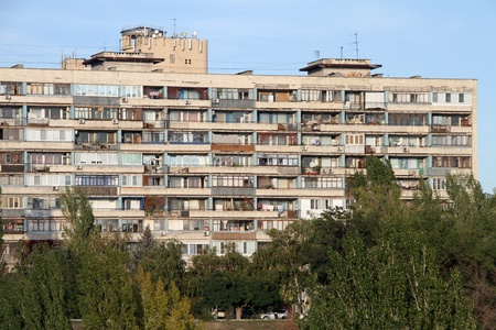 Big old apartment house in the center of Volgograd, Russia photo