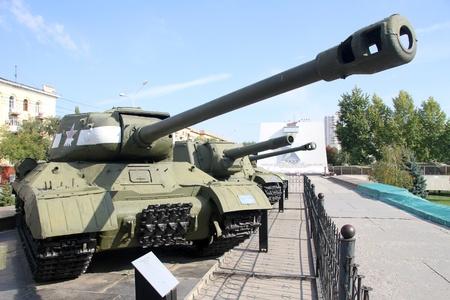 volgograd: Russian tanks near Stalingradskaya panorama in Volgograd, Russia Editorial