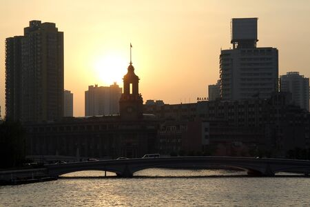 Sunset on the river in Shanghai, China