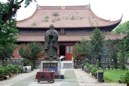 past civilizations: Statue of Confucius inside temple in Suzhou, China Stock Photo