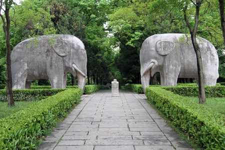 Stock Photo   Stone Elephants And Foot Path In Garden, Nanjing, China