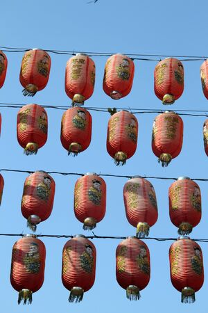 Chinese lamps in temple Matsu in Lukang, Taiwan photo