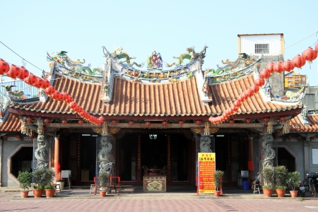 Facade of chinese temple in Lukang, Taiwan photo