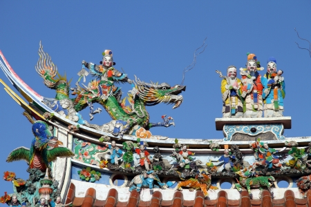 Sculptures on the roof of chinese temple in Lukang, Taiwan Stock Photo