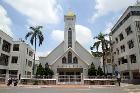New white chirch on the street of Tainan, Taiwan Stock Photo - 13903256