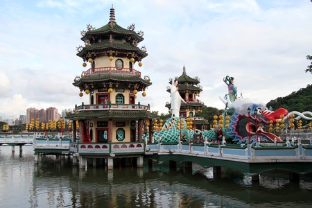 Pagodas and statue of godness Guan Yin on the lake in Kaohsiung, Taiwan