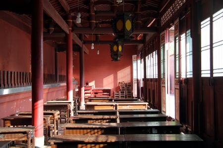 Classroom inside old Confucius temple in Changhua, Taiwan