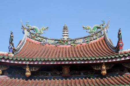 Sculptures on the roof of chinese temple in Lukang, Taiwan photo
