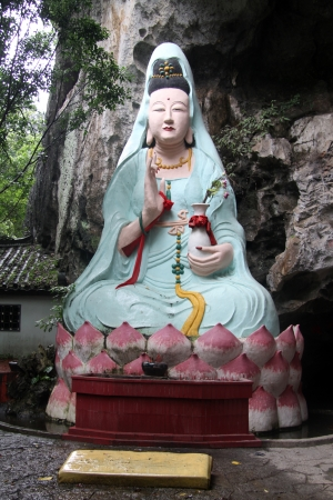 Chinese goddess Guan Yin near rock in Yanshuo, China