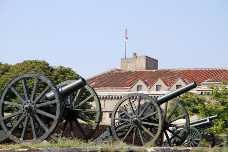 gunnery: Old green guns near Military museum in Belgrade, Serbia