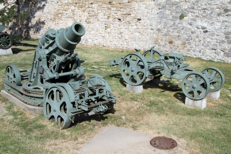 gunnery: Old guns near the wall of Beograd fortress in Serbia Editorial