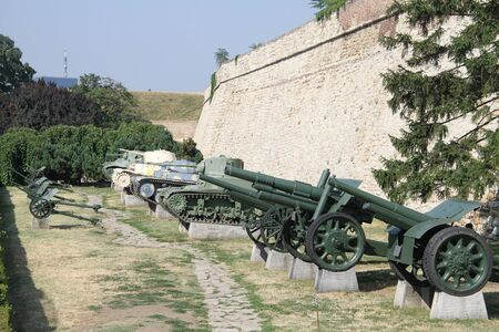 gunnery: Exebition of old guns and tanks near the wall of Beograd fortress, Serbia Editorial