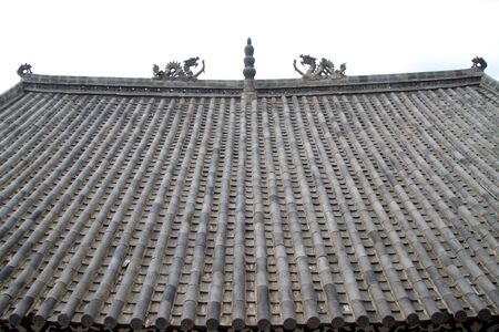 Dragons on the top of roof of buddhist temple photo