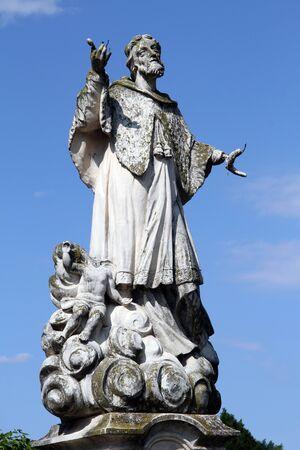 sain: Stone statue of christian sain nearcastle in Varazhdin, Croatia