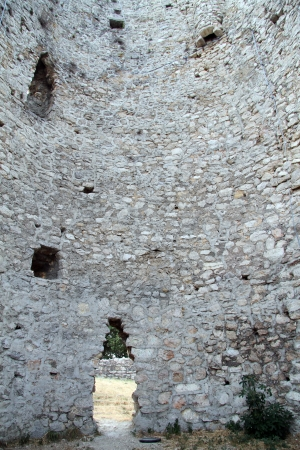 Inside ruined tower of turkish fortress in Drnish, Croatia photo
