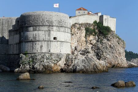Flag on the fortress in Dubrovnic, Croatia
