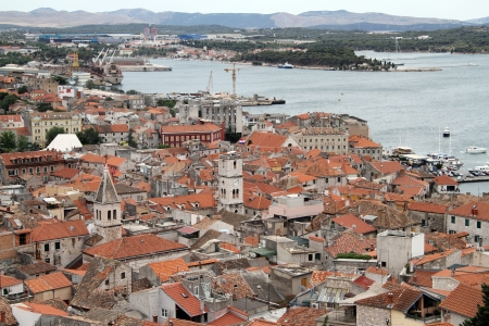 View on the port and old city Shibenik, Croatia Stock Photo - 14991010