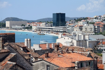 View on the coast in Split from bell tower, Croatia Stock Photo - 14986986